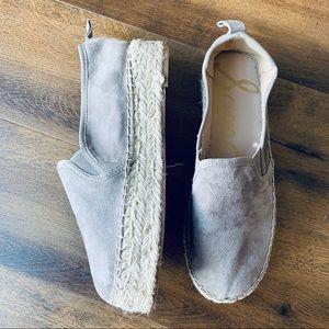 Sam Edelman Cardin gray suede leather espadrilles